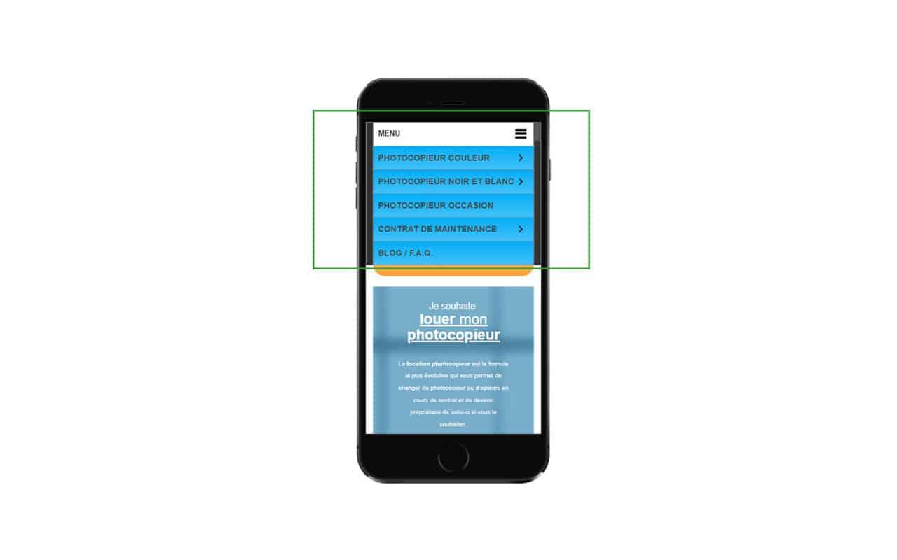 les catégories du site deb shop sur mobile