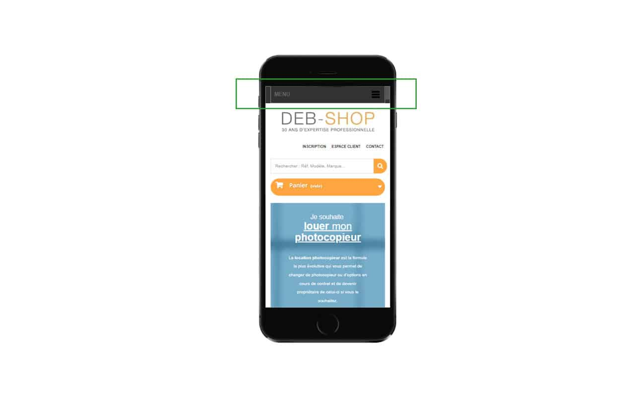 emplacement du menu sur le site mobile deb shop